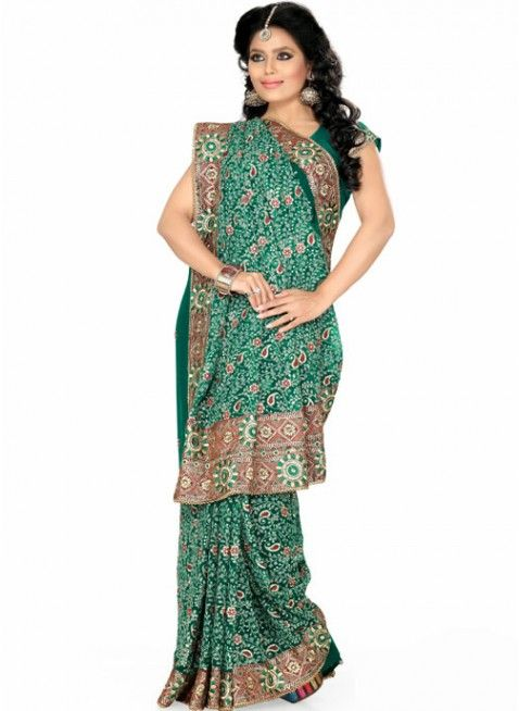 Enigmatic Jade Green Color Faux Georgette Based Embroidered #Saree