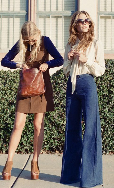 Stunning 70s style featuring bell-bottoms, pussy-bow blouses, camel-hued dresses, and oversize sunnies.