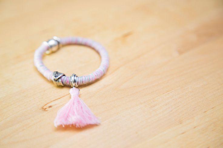 Cotton Rope Bracelet, Pink Rope Bracelet, Boho Bracelet, Bracelet with Metal…