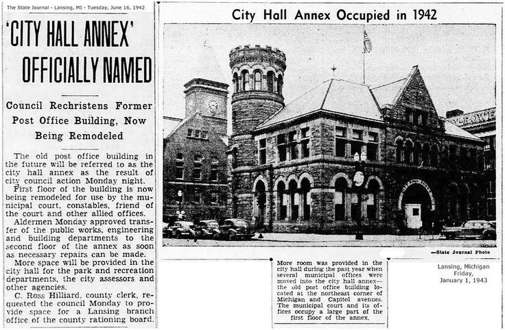 https://flic.kr/p/REPTAC | City Hall Annex-named-old post office bldg.-castle like-1942-06-16-Lansing, MI