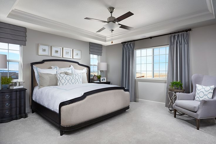 Relaxing master bedroom with decorative ceiling and abundant natural light. | Yorktown model home | Herriman, Utah | Richmond American Homes