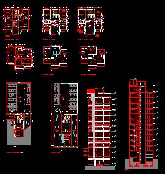 Plan autocad d'un immeuble d'appartement de 12 étages dwg | Génie civil et Travaux Publics Engineering