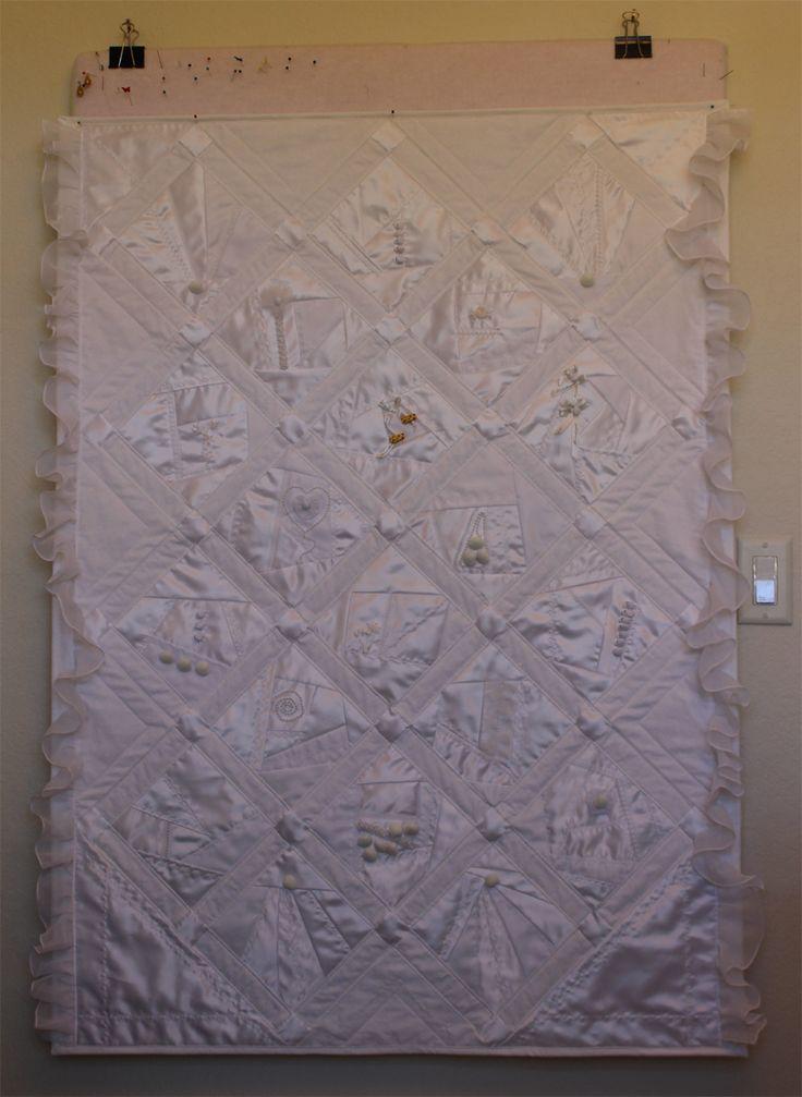 Crazy Quilt made from a Wedding Dress