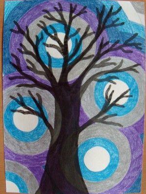 Zimní strom - pastelka a tuš