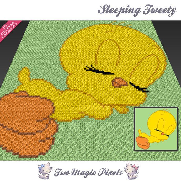 Sleeping Tweety c2c graph crochet pattern; instant PDF download; looney tunes; baby blanket, corner to corner pixel, afghan, graphghan by TwoMagicPixels, $2.84 USD