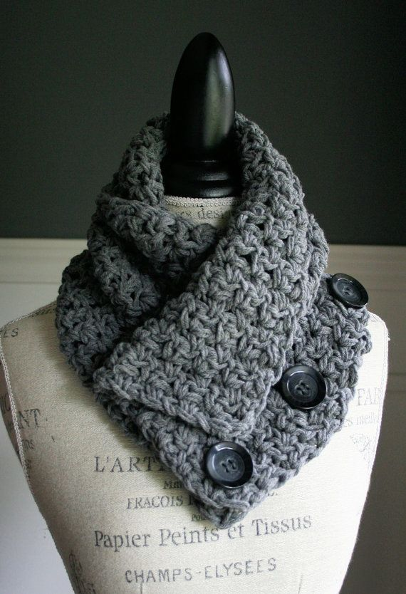 NEW  Crocheted Versatile Scarf in Grey with 3 by TootsandToad
