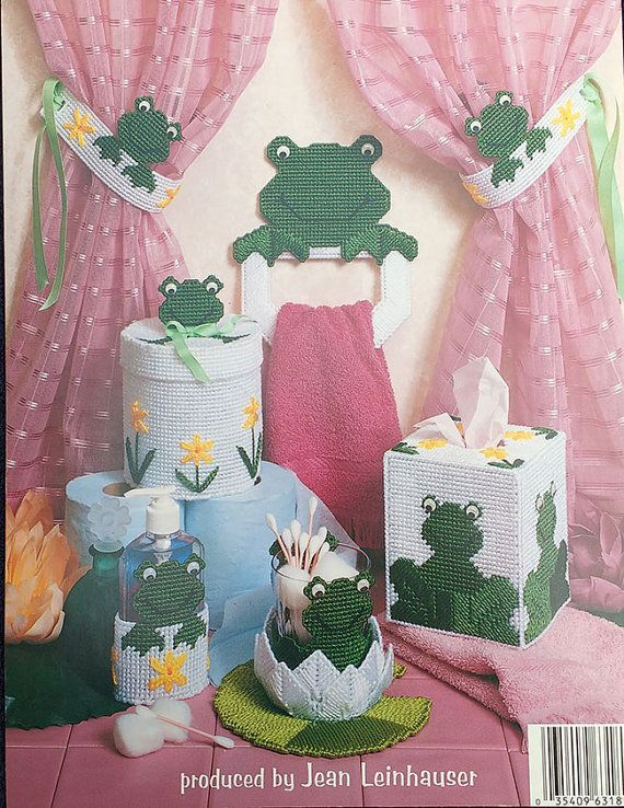 Bathroom Frogs Plastic Canvas Book by TheHowlingHag on Etsy