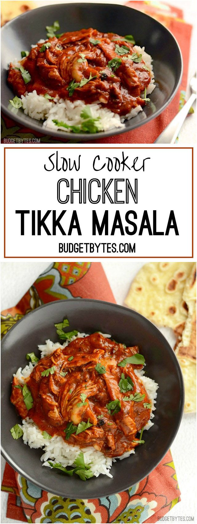 This Slow Cooker Chicken Tikka Masala boasts a rich and aromatic sauce and tender, juicy chicken. Set it and forget it until your house smells amazing! - BudgetBytes.com