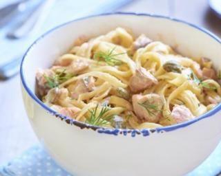 Spaghettis crémeux aux câpres et au saumon : http://www.fourchette-et-bikini.fr/recettes/recettes-minceur/spaghettis-cremeux-aux-capres-et-au-saumon.html