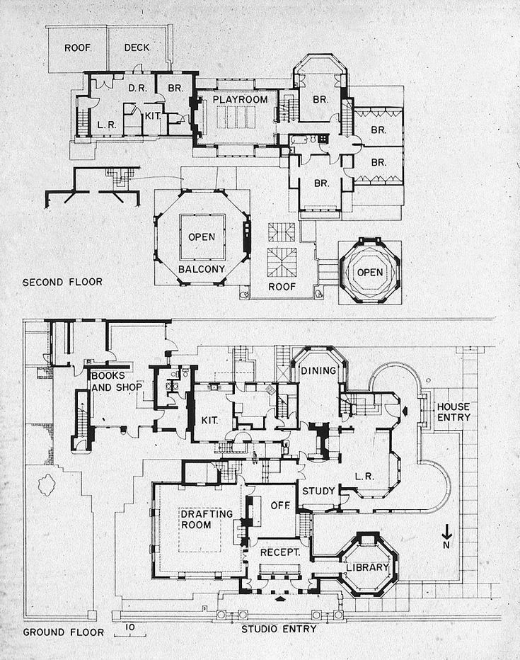Frank Lloyd Wright's plan for his house and studio in 1889, Oak Park