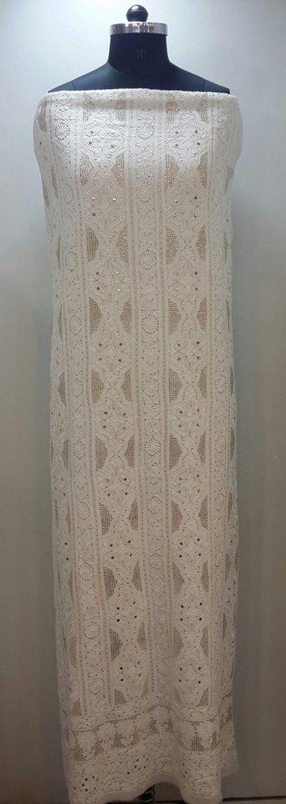 Lucknow Chikan Online Suit Length 2 piece white on white pure georgette with very fine chikankari murri, shadow, kaamdani, kangan & mukaish work with full embroidered sleeves & embroidered dupatta $180
