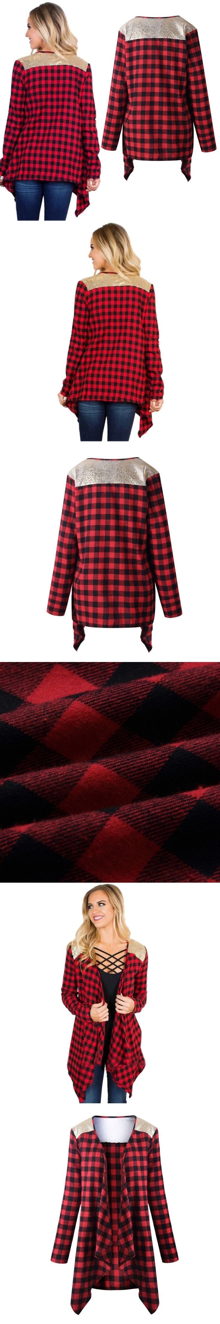 2017 Autumn Female Blazers And Jackets Patchwork Red Plaid Jacket Long Sleeve Slim Suit Without Button Women Blazerj2