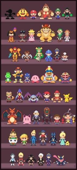 Really Cool Super Smash Bros pixel art of all of the characters from the game!! Original art: http://davitsu.deviantart.com/art/Super-Low-res-Brothers-513233648