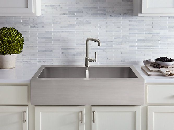 K 3944 1 Vault Top Mount Kitchen Sink With Single Faucet Hole Kohler Stainless Steel Farmhouse Sink Stainless Steel Farm Sink Farmhouse Sink Kitchen