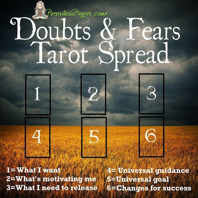 Doubts and Fears Tarot Spread by PennilessPagan.com   Pagan, Wicca, Witch, Moon, Tarot, Spread, Doubt, Worry, Fear