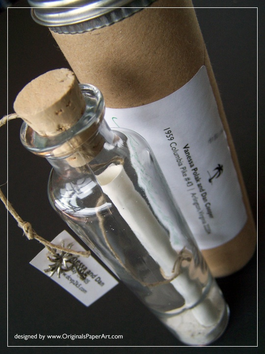 destination wedding invitations... Or what if this was something you did at the wedding? Everyone put a message in the bottle and put out at sea. Or a message for bride and groom to read in 5-50 years?