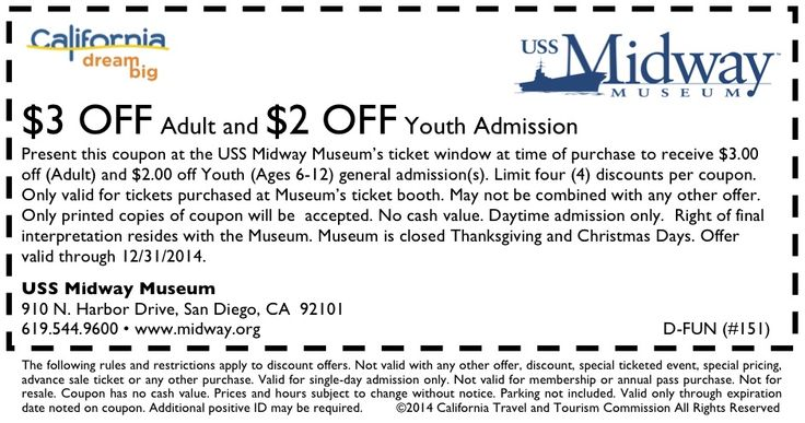 2 verified USS Midway Museum coupons and promo codes as of Nov Popular now: Save Big on Sale and Group Sale Tickets starting at $8. Trust chicksonline.gq for Tickets & Events savings.