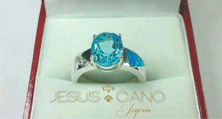 Anillo plata con topacio azul con opal y circones
