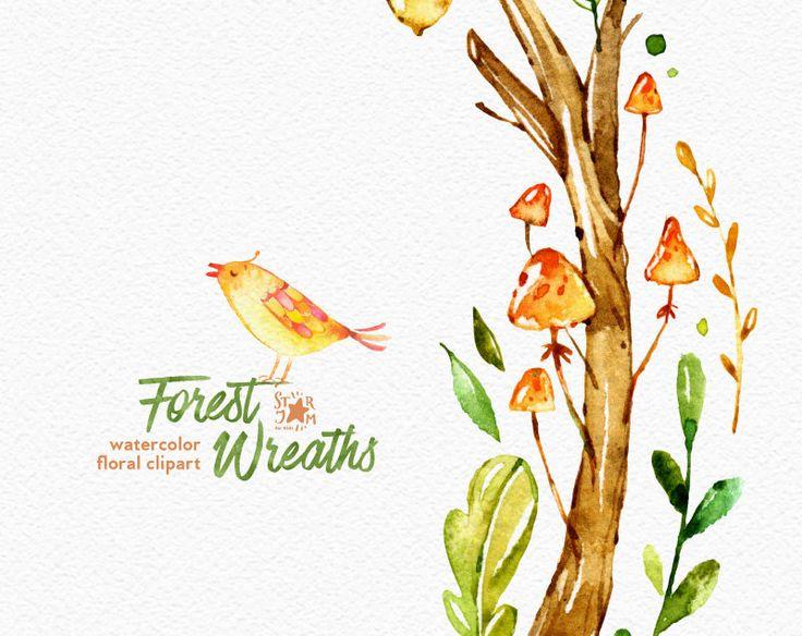 Corone di foresta. ClipArt di acquerello fiori rovere