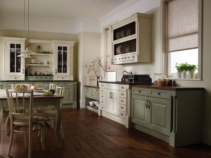 Great Design Ideas Of Wood Kitchen Floor. Excellent Red Mahogany Color Wood Kitchen  Floor Featuring Running Bond Shape Floor Pattern And White Sage Green ...