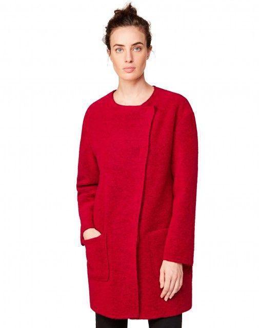 Пальто из вареной шерсти Красный - ДЛЯ ЖЕНЩИН | Benetton