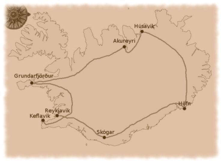 iceland outline map3, Skaftafell Reykjavik Námaskarð Keflavíku islande