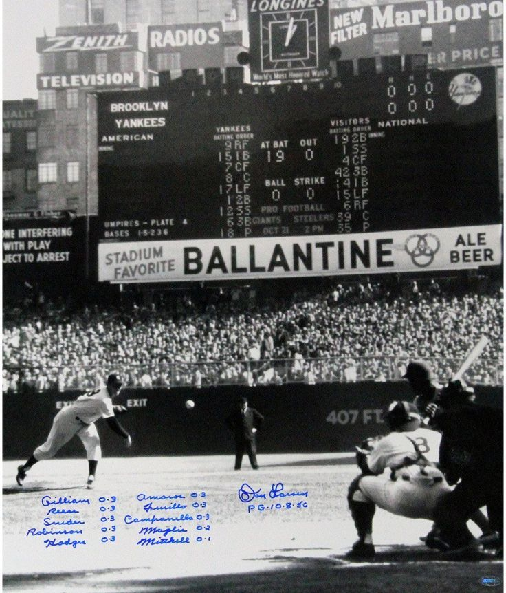 Don Larsen Signed PG First Pitch Vertical 20x24 w/ Perfect Game Lineup