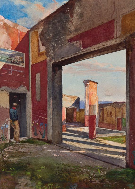 Giacinto Gigante (1806-1876) - The House of Castor and Pollux, Pompeii