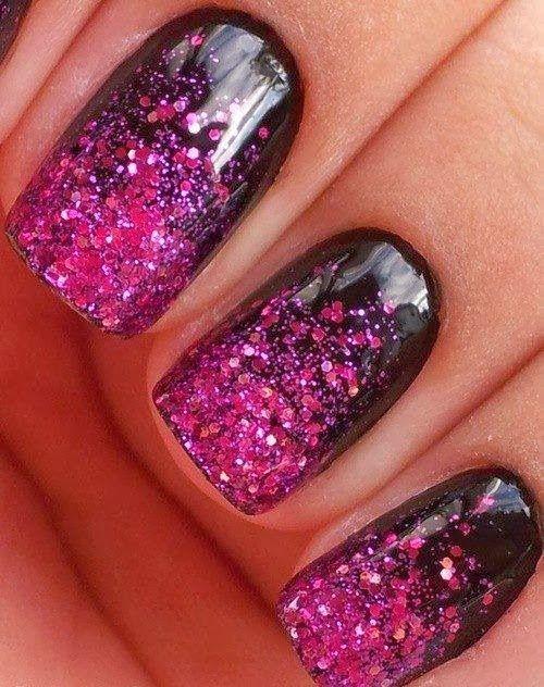 Nails Arts gradual glitter black and pink