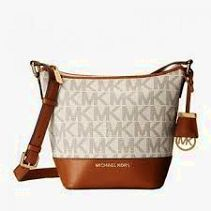Michael Kors Beige Brown MK Logo Jacquard Leather Tote Purse