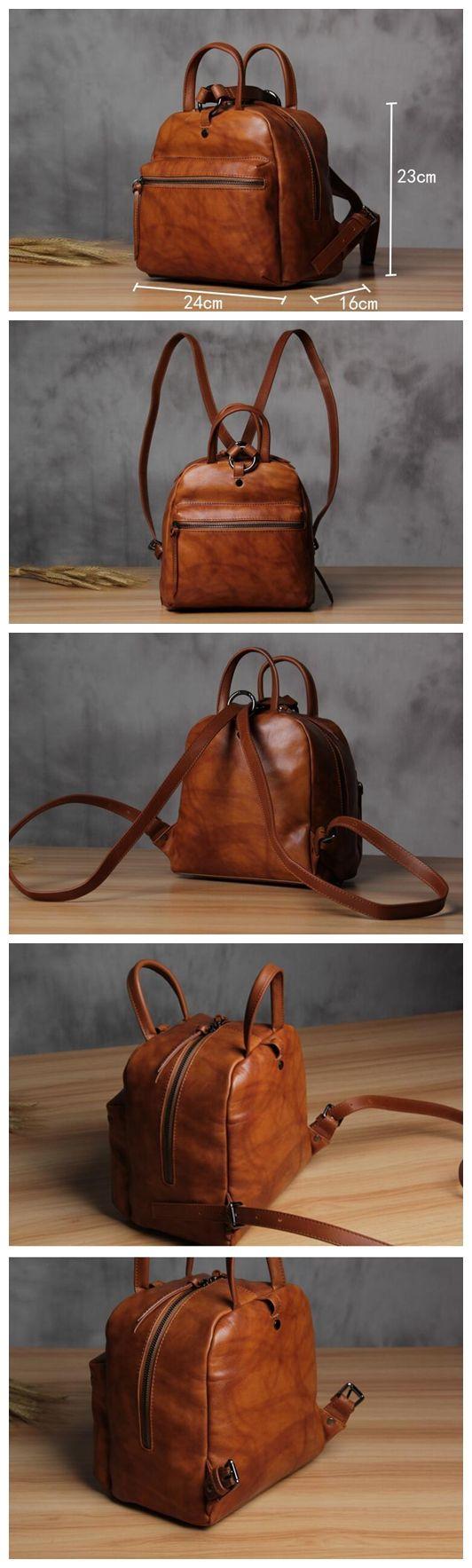Handmade Vintage Brown Genuine Leather School Backpack Casual Rucksack Daily Bag 14123 – Vintage BrownHannah McSorley