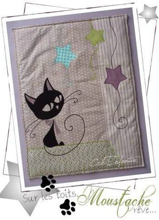 """Small blanket for the first installment of the adventures of a mischievous little cat named """"Moustache"""" ~ Article in French"""