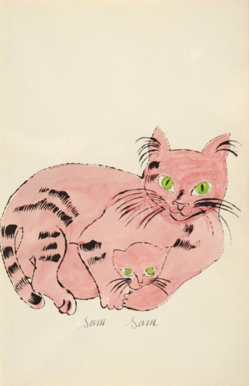 Mother Sam and kitten Sam |  lithograph with watercolour, 1954 | Andy Warhol