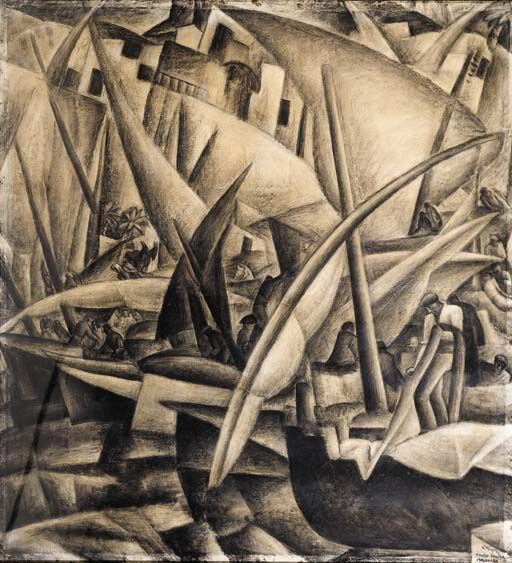 Leo Gestel - Harbour of Palma de Mallorca, charcoal on paper, 100 x 92 cm, ca. 1914