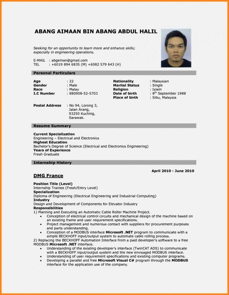 internship resume sample malaysia