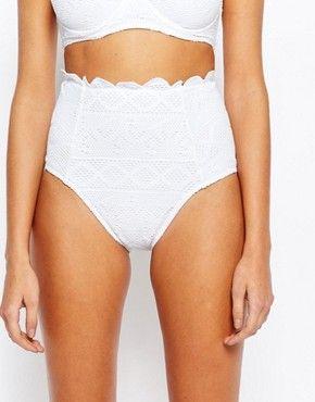 ASOS - Mix and Match - Slip bikini a vita alta smerlato in pizzo all'uncinetto