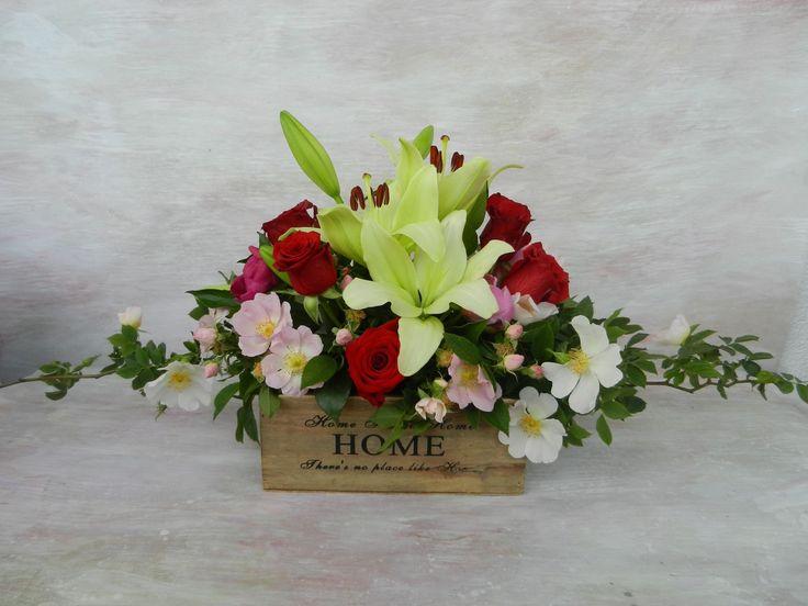 #lilies #red #roses #savage #pink #roses #wood #box