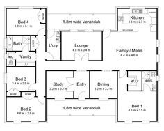 The Darling « Australian House Plans. H layout: maybe move kitchen to lounge with wall to entry kitchen facing back veranda, door to l'dy, no wall to family/meals, and original kitchen area either lounge or maybe an indoor outdoor area.