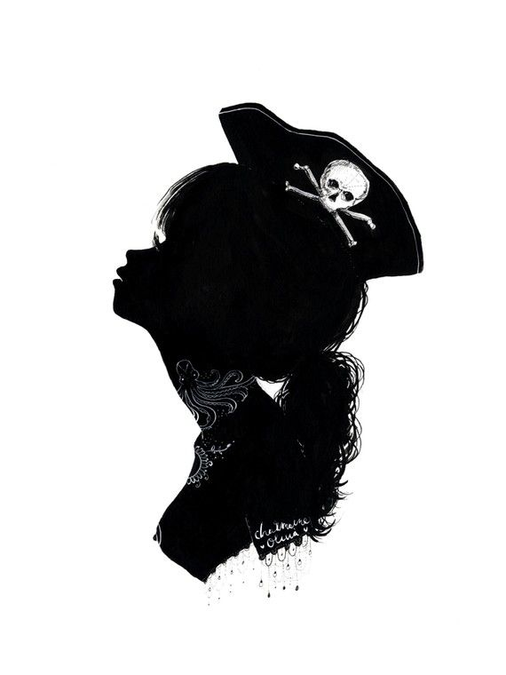 434 best pirate girl images on pinterest pirate art for Female silhouette tattoo