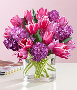 beautiful dutch tulip and hyacinth bouquet