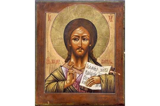 Ikone, Christus Pantokrator, Russland um 1900, Ei - Tempera, Vergoldung, 31 x 26,5 cm, 591/145/01