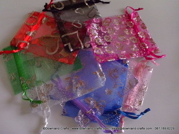 Mixed small organza gift bags with silver print. by DownlandCrafts, €0.25