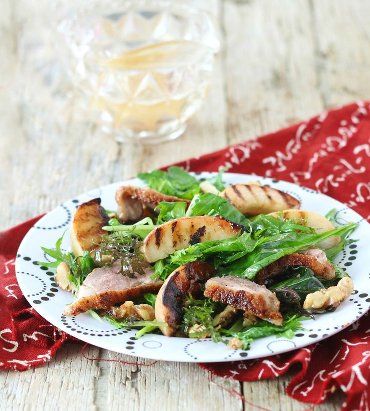 Warm Duck Salad with Grilled Pear, Walnuts & Red Wine Vinaigrette