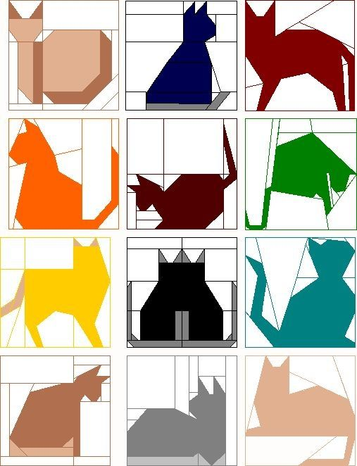 12,5 Patterns Inch Quilt Bloco | Bloco do clube do mês - Cats acolchoado • para WB e TC ?? by Divonsir Borges