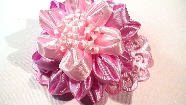 Воздушные Цветы Канзаши  из ленты 2,5 см. Ribbon Flowers How to Make. DIY Ribbon Flower Tutorial