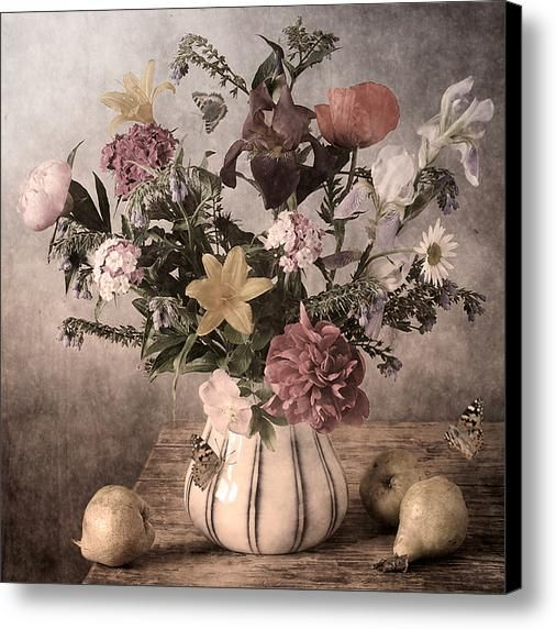 http://nikolay-panov.pixels.com/products/vintage-style-bouquet-nikolay-panov-canvas-print.html • #Vintage floral #stilllifephotography with bouquet of #variety of fresh #gardenflowers in vase, fruits and #flyingbutterflies in #countryside in #summertime