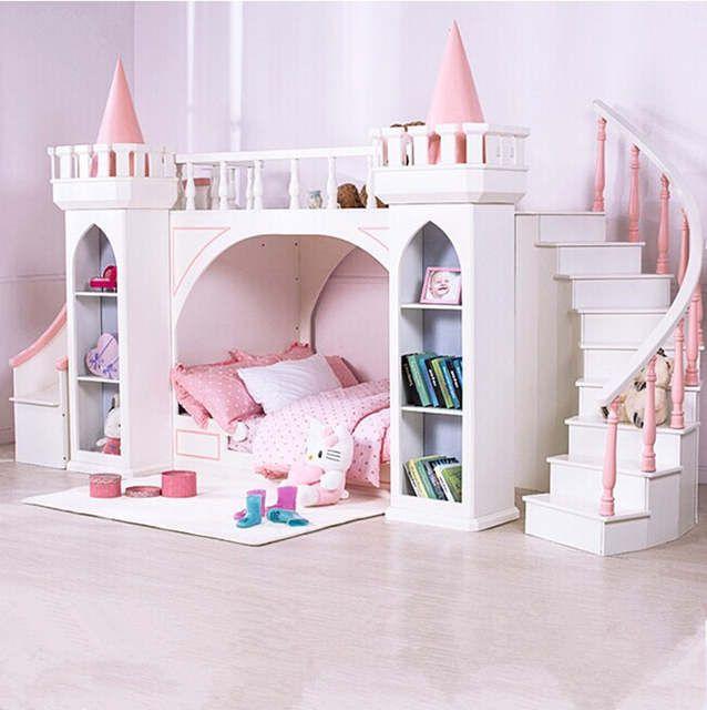 European Princess Children Bedroom Furniture Double Bunk Bed Pine Wooden Ladder Castle Bedroom Kids Princess Bedrooms Bunk Beds