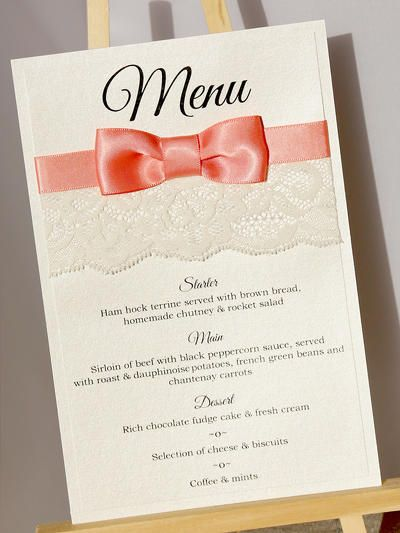 Wedding Breakfast Menu Cards These Luxurious Lace And Ribbon Menu Cards Compliment The Table