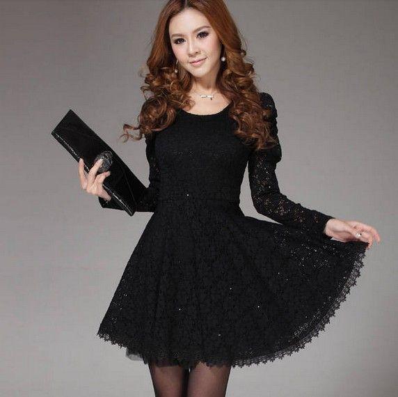 Nueva mujer 2013 elegante uno- pieza delgado vestido de manga larga básica de encaje vestido corto femenino en blanco y negro para la fiesta de diario de buques de libre