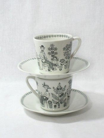 Vintage Arabia Finland Emilia Teacups These're only so hard to find any more...